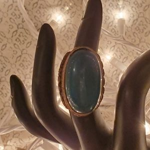 Boho ring with blue-green stone